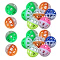 MMdex 18-Pieces Pet Cat Kitten Play Balls With Jingle Bell Pounce Chase Rattle Toy from MMdex