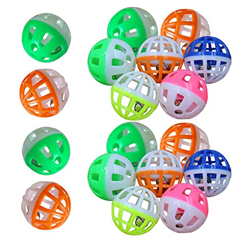 WinnerEco 18Pcs Pet Cat Kitten Play Balls With Jingle Bell Pounce Chase Rattle for Cat Dog Training Playing Practice