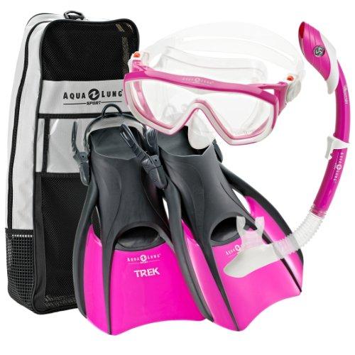 UPC 608819925691, Aqualung Snorkel Set with Sport Diva 1 Lx Mask, Island Dry Snorkel and Trek Fin, Pink, Small (Ladies 5-8)