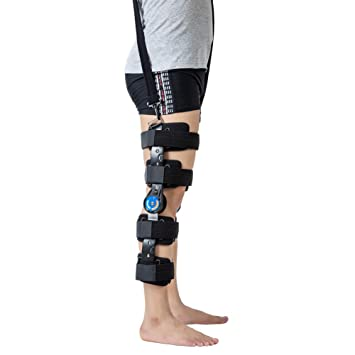 2f8b8f3783 Hinged ROM Knee Brace with Strap, Post OP Patella Injury Immobilizer Brace  Medical Orthopedic Guard Protector - Adjustable Full Leg Stabilizer Knee  Orthosis ...