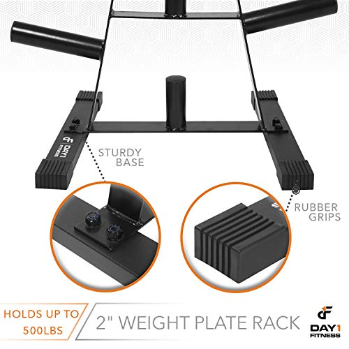 "Olympic Weight Plate Rack, Holds up to 500lb of 2"" Weights by D1F - Black Weight Holder Tree with 7 Branches for Stacking and Storing High Capacity Weights- Heavy-Duty, Durable Triangle Plate Racks by Day 1 Fitness (Image #3)"