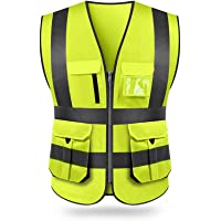 KKmoon SFVest High Visibility Reflective Safety Vest Reflective Vest Multi Pockets Workwear Security Working Clothes Day…