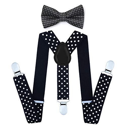 Child Kids Suspenders Bowtie Set - Adjustable Suspender Set for Boys and Girls (Black Polka dot, 30Inches (6 Years to 5 Feet Tall) ()