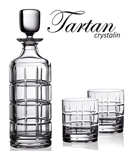 BOHEMIAN CRYSTAL GLASS WHISKEY SET 1+6 ''Tartan'' DECANTER-23 oz. + 6 OLD FASHIONED ROCKS GLASSES-8 oz. BOURBON SCOTCH COGNAC BRANDY VINTAGE CARAFE & WHISKEY GLASSES CLASSIC CZECH CRYSTAL
