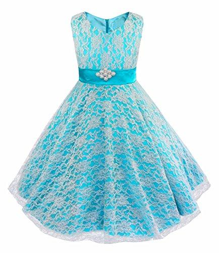 iiniim Kids Girls Floral Lace Pageant Party Wedding Ball Gowns Flower Girl Dress Blue 14 ()