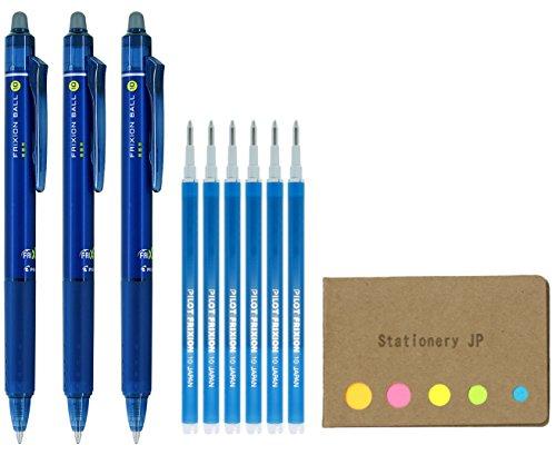 - Pilot FriXion Ball Knock Retractable Erasable Gel Ink Pens, Bold Point 1.0mm, Blue Black Ink, 3 Pens, 6 Refills, Sticky Notes Value Set
