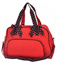 Larlar Oliff Quilted Solid Overnight Duffle Bag   Double Strap  Red black dee60f845e76e