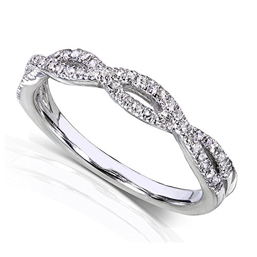 1/6ct TW Round Cut Diamond Braided Style Band in 14k White Gold