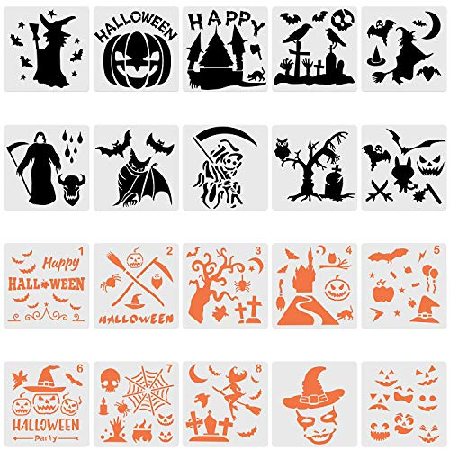 Halloween Carving Letters (20 Pieces Halloween Stencils Templates Plastic Painting Stencils DIY Drawing Decorative)