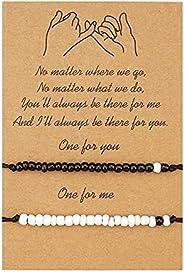 GUOSHENG Best Friends Gifts Friendship Bracelets Set Adjustable Handmade Cord Relationship Matching Bracelets