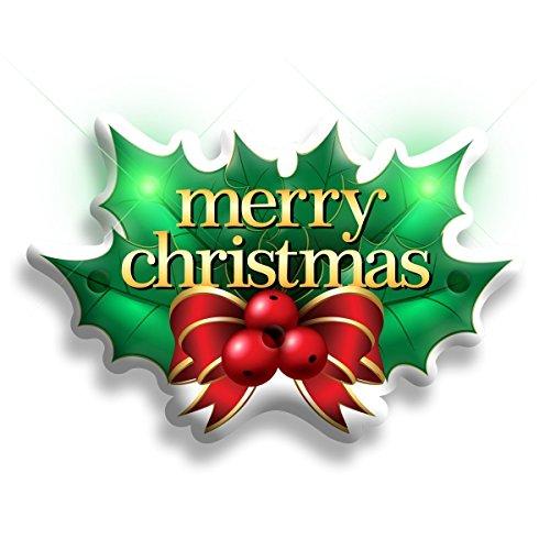 blinkee Merry Christmas Holly Flashing Body Light Lapel Pins by