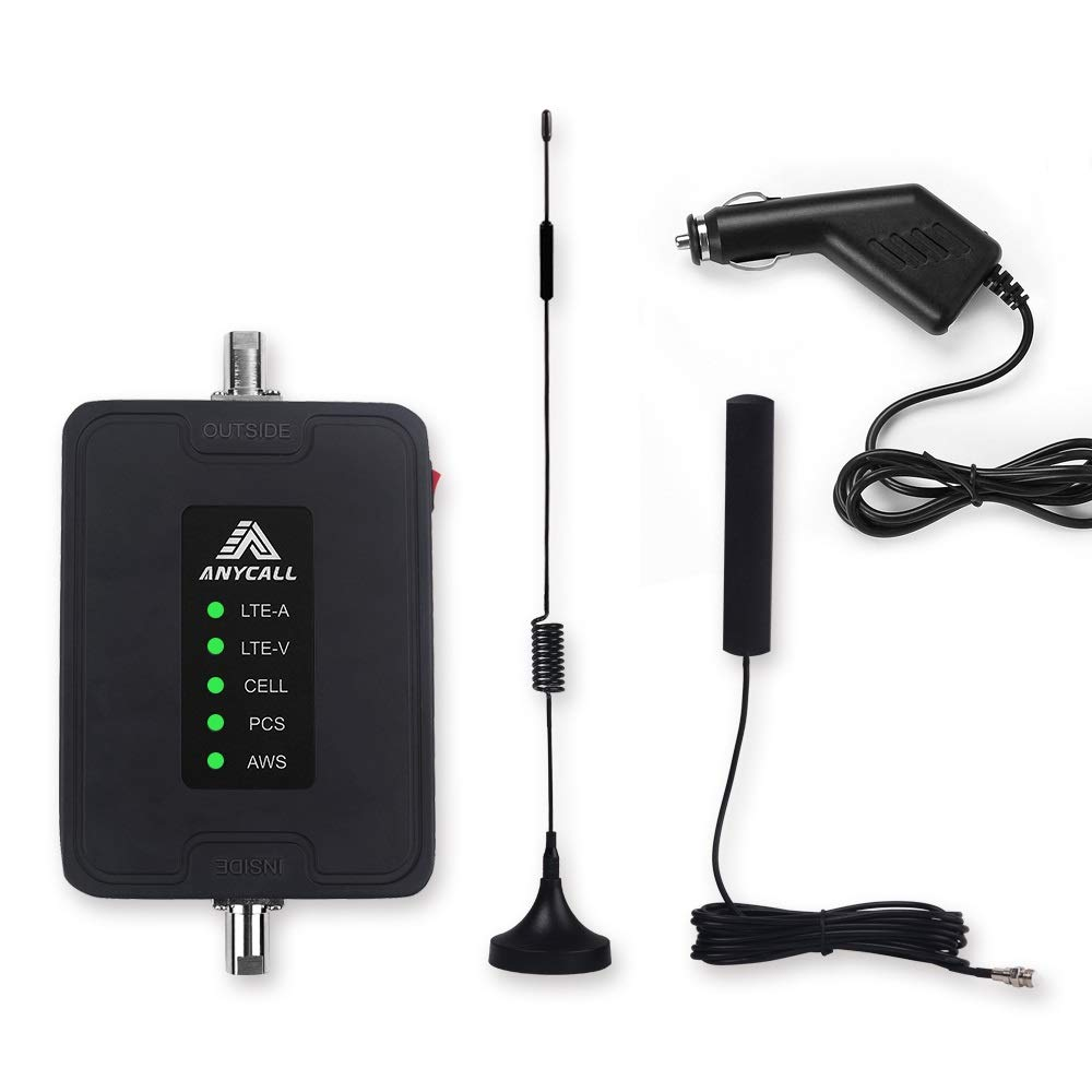 Cell Phone Signal Booster for Car, Truck & RV Use, Multiple Band Repeater Kit for All Carriers 2G 3G 4G LTE Voice and Data.