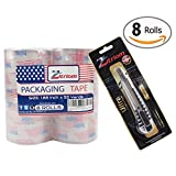 Packing Tape with Retractable Razor Knife Included Ultra Adhesive Clear Packaging - Box and Package Sealing Rolls for Shipping and Mailing - Fits Any Standard Guns and Dispensers (Set of 8)