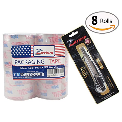 Box Package (Packing Tape with Retractable Razor Knife Included Ultra Adhesive Clear Packaging - Box and Package Sealing Rolls for Shipping and Mailing - Fits Any Standard Guns and Dispensers (Set of 8))