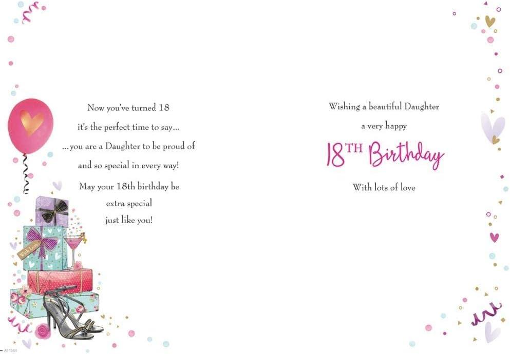 10 x 7 pulgadas Piccadilly Greetings Tarjeta de cumplea/ños tradicional para hija de 18 a/ños