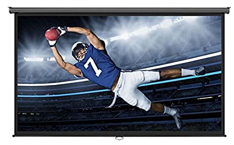 VonHaus 100-inch Widescreen Projector Screen (Manual Pull Down) - Home Theater/Cinema or Presentation Platform - 16:9 Aspect Ratio Projection Screen - Suitable for (Projector Projection Screen)
