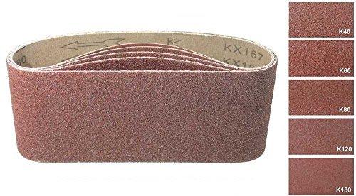 Lot de 25Mélange de tissus Bandes abrasives 100x 560mm, pour ponceuse à bande–5grains chaque 2X K40/60/80/120/180/Papier abrasif/de ponçage Mix/bandes abrasives S&S-Shop