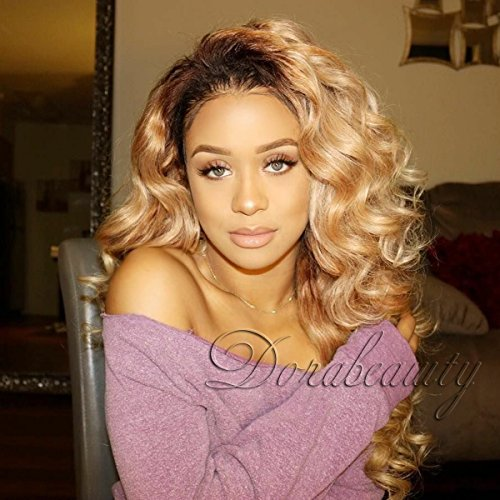 Dorabeauty Dark Roots Honey Blonde Virgin Human Hair Wig for Black Woman Glueless Lace Front Wig Ombre #1B/27 Body Wave 150% Density 20