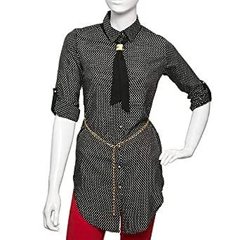 Puanli Black Polyester Shirt Neck Shirts For Women
