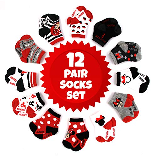Price comparison product image Disney Baby Girls Assorted Minnie Mouse Designs 12 Pair Socks Variety Set,  Age 0-24 Months (12-24 Months,  Black-Red-White Collection)