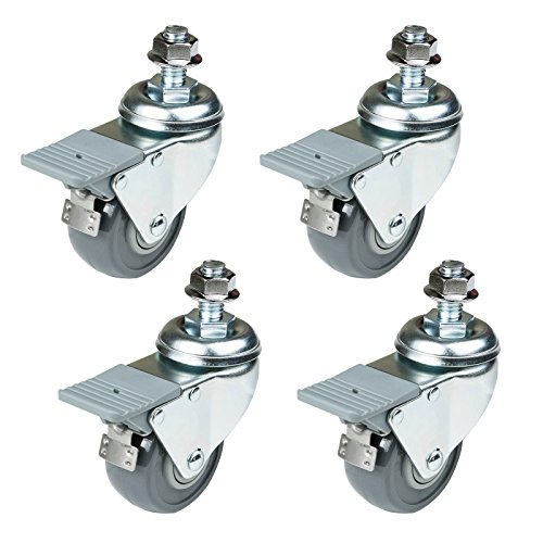 POWERTEC Set, 4-Pack 17202 Dual Locking Swivel Caster Wheels Set of 4 with 400 lb Weight Capacity, 2-3/8-Inch