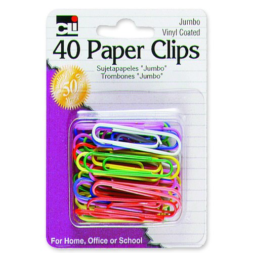- Charles Leonard Paper Clips, Jumbo Gem, Vinyl Coated, Assorted Colors, 40-Pack (80050)
