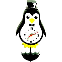 Relógio de Parede com Movimento, Modelo Pinguim Me Criative RAM Preto Pacote de 1
