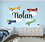 Personalized Airplanes Name Wall Decal - Baby Boy Room Decor - Nursery Wall Decals - Airplanes Clouds Wall Decal Vinyl Sticker for Boys