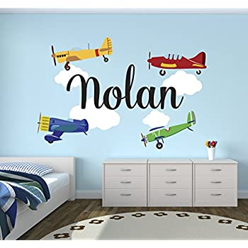 Personalized Airplanes Name Wall Decal   Baby Boy Room Decor   Nursery Wall  Decals   Airplanes