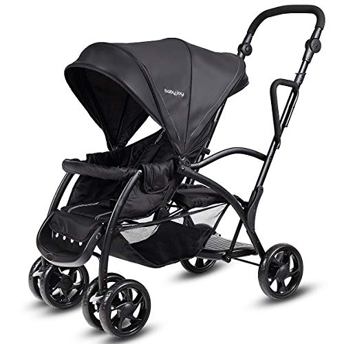 BABY JOY Stand and Ride Stroller, Stand On Tandem Stroller, Sit and Stand Stroller for Babies, Ultra Light Stroller (Black)