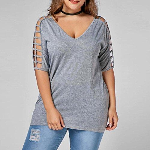 AIMEE7 Grande Taille Femmes Évider Manches T-Shirt Tops Chemisier Décontracté t-Shirt Blouse
