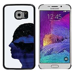 Paccase / Dura PC Caso Funda Carcasa de Protección para - Profile Portrait Head Universe Thoughts Symbolic Art - Samsung Galaxy S6 EDGE SM-G925
