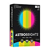 "Astrobrights Color Paper, 8.5"" x 11"", 24 lb/89 gsm, ""Brights"" 5-Color Assortment, 500 Sheets (99608)"