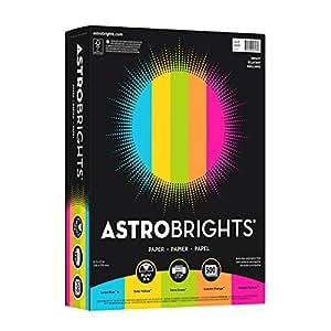 """Astrobrights Color Paper, 8.5"""" x 11"""", 24 lb/89 gsm, """"Brights"""" 5-Color Assortment, 500 Sheets (99608)"""