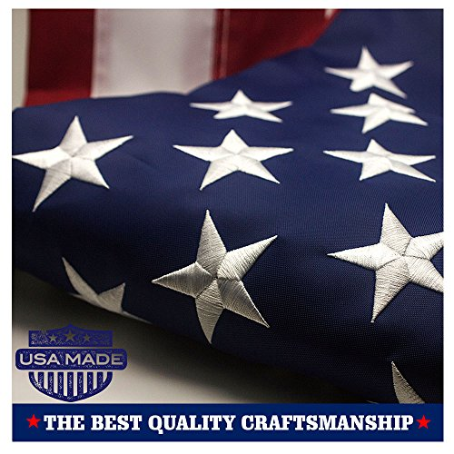 VSVO American Flag 3×5 ft – Made in USA – Durable 240D Nylon Outdoor Flags- UV Protected, Embroidered Stars, Sewn Stripes, Brass Grommets Outside US Flags. For Sale