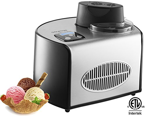 Gourmia GSI200 Automatic Ice Cream Maker Stainless Steel 1.6 Qt - Gelato, Sorbet and Frozen Yogurt Machine - Built-in Compressor and LCD Digital Display- Includes Free Recipe Book – 110/120V by Gourmia
