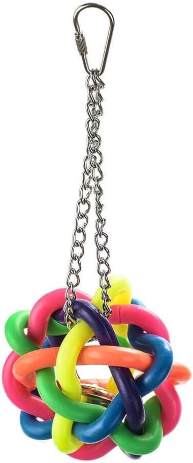 Parrot Essentials Juguete Colgante De Loro De Forrajeo De Bola Arcoíris con Campana, Grande 170 g