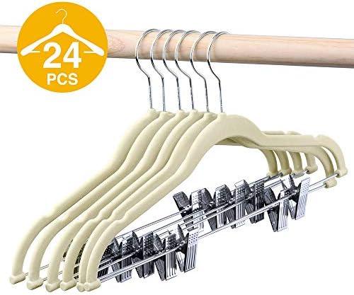 HOUSE DAY Velvet Skirt Hangers - Pack of 24 - Velvet Hangers with Clips Ultra Thin Non Slip Velvet Pants Hangers Space Saving Clothes Hanger (Beige)
