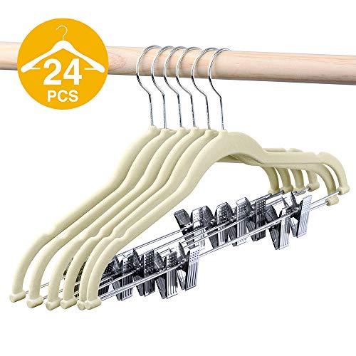HOUSE DAY Velvet Skirt Hangers - Pack of 24 - Velvet Hangers with Clips Ultra Thin Non Slip Velvet Pants Hangers Space Saving Clothes Hanger - Basic Hanger Shirt