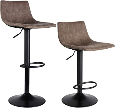 Amazon Com Superjare Set Of 2 Bar Stools Swivel Barstool Chairs With Back Modern Pub Kitchen Counter Height Light Brown Fabric Kitchen Dining