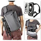 Finnkare Digital Shoulder Camera Backpack for DSLR & Mirrorless Cameras (Nikon, Canon, Sony ), Outdoor Sling Camera Bag with Tripod Hanging Belt, Hidden Security Camera Case with Waterproof cover Grey