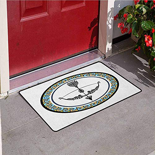 GloriaJohnson Zodiac Sagittarius Front Door mat Carpet Victorian Inspired Bow and Arrow Design with Colorful Curves and Swirls Machine Washable Door mat W15.7 x L23.6 Inch Multicolor