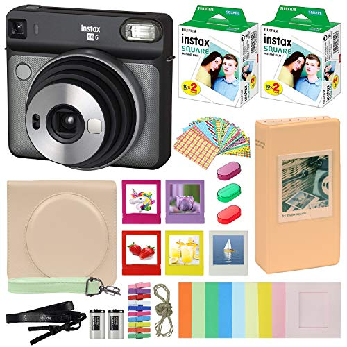 Fujifilm Instax Square SQ6 – Instant Camera Graphite Gray with Carrying Case + Fuji Instax Film Value Pack (40 Sheets) Accessories Bundle, Color Filters, Photo Album, Assorted Frames + More