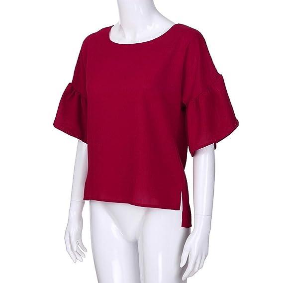 Longra ✓Verano Casual Plus-Size O-cuello Bowknot Solid Tops blusa de color