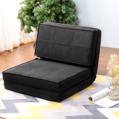 Harper & Bright Designs Convertible Futon Flip Chair Sleeper Bed Couch Sofa Seating Lounger (Black)
