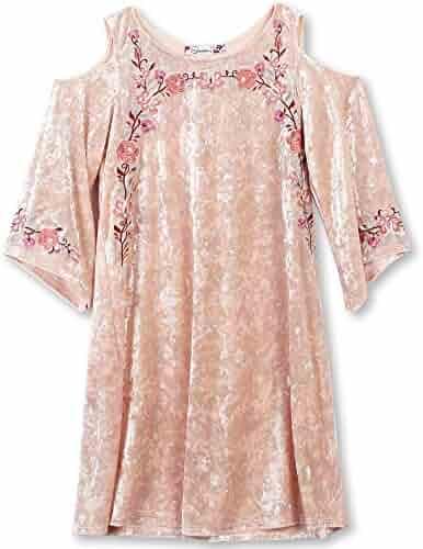 Speechless Big Girls' Embroidered Crushed Velvet Cold Shoulder Dress