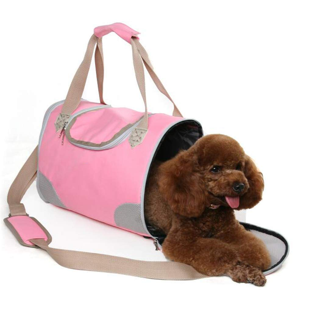 Pink FJH Portable Outing Pet Backpack Cat Bag Dog Bag Teddy Outer Bag Bag Handbag (color   Pink)