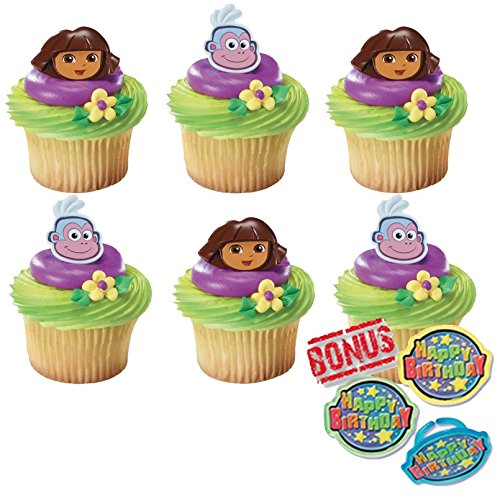 Dora the Explorer Dora and Boots Cupcake Toppers and Bonus Birthday Ring - 25 piece -  Bundle of Fun, BUNDLE236