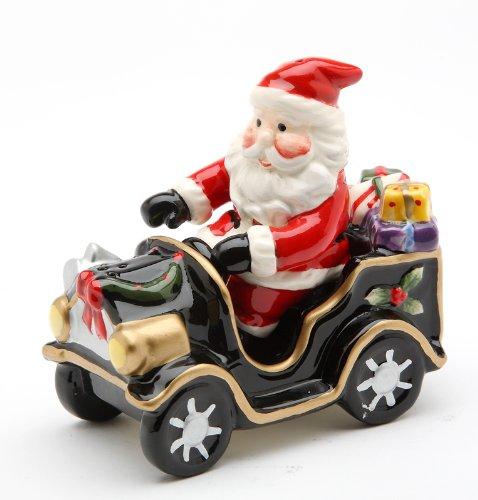 Cosmos Santa On Old Fashion Car Salt and Pepper Set, 5.6-Inch Long