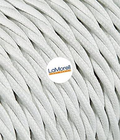 LaMorell LightDesign – Câble électrique tressé avec revêtement en tissu Couleur : blanc. Section2x0, 75.